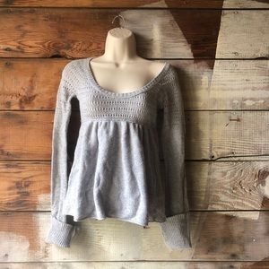 Hollister Tops - Hollister Size Small Lace Knit Sweater Blouse Grey